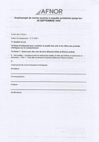 AFNOR - Norme NF ISO 18772 Qualité du sol - Lignes directrices relatives aux modes opératoires de lixiviation en vue d'essais chimiques et écotoxicologiques ultérieurs des sols et matériaux du sol.