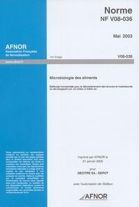 Norme NF V08-036, Mai 2003, Microbiologie des aliments - Méthode horizontale pour le dénombrement des levures et moisissures se développant sur un milieu à faible aw.pdf