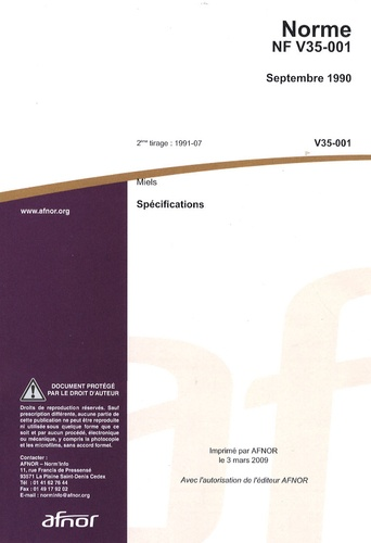 AFNOR - Norme NF V35-001 Miels - Spécifications.