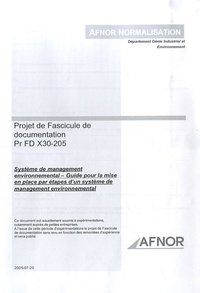 Checkpointfrance.fr Projet de Fascicule de documentation PR FD X30-205 - Système de management environnemental - Guide pour la mise en place par étapes d'un système de management environnemental Image