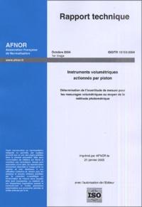 Rhonealpesinfo.fr Rapport technique ISO/TR 16153 2004 - Instruments volumétriques actionnés par piston Image