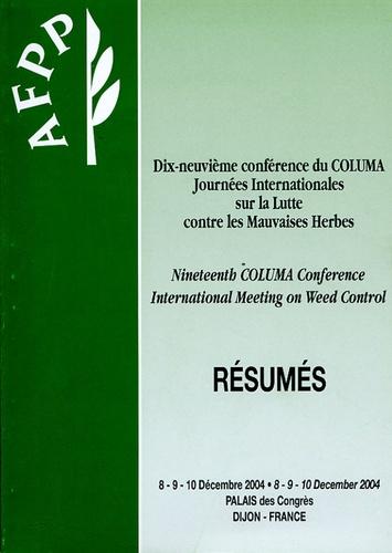 AFPP - Dix-neuvième conférence du COLUMA : Journées internationales sur la lutte contre les Mauvaises Herbes - Résumés. 1 Cédérom