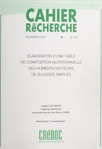 Agathe Couvreur et Catherine Simonet - Élaboration d'une table de composition nutritionnelle des aliments vecteurs de glucides simples.