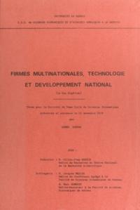 Ahmed Koudri - Firmes multinationales, technologie et développement national : le cas algérien - Thèse pour le doctorat de 3ème cycle de sciences économiques.