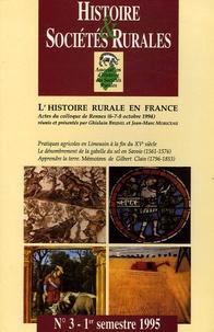 AHSR - Histoire & Sociétés Rurales N° 3, 1er semestres : L'histoire rurale en France - Actes du colloque de Rennes (6-7-8 octobre 1994).