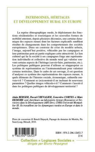 Patrimoines, héritages et développement rural en Europe