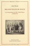 Alain Blondy - Des Nouvelles de Malte. - Correspondance de l'Abbé Boyer (1738-1777).