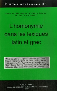 Alain Christol - L'homonymie dans les lexiques latin et grec.