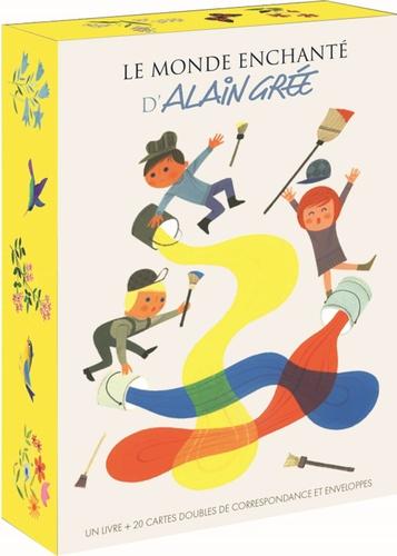 Coffret Le monde enchanté d'Alain Grée. Contient 1 livre et 20 doubles cartes de correspondance et enveloppes