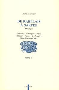 Alain Niderst - De Rabelais à Sartre - Tome 1.