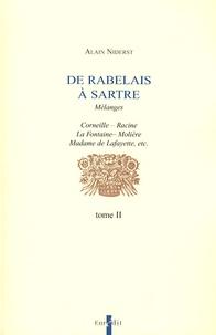 Alain Niderst - De Rabelais à Sartre - Tome 2.