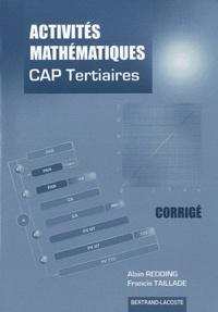 Alain Redding et Francis Taillade - Acitvités mathématiques CAP tertiaires - Corrigé.