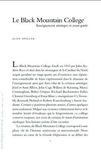 Alan Speller - Le Black Mountain College.