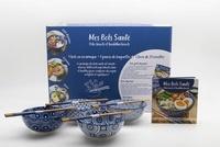 Albane Hemon - Coffret bleu L'équilibre est dans le bol - Mes bols santé, poke bowls et buddha bowls avec 4 bols en céramique et 4 paires de baguettes.