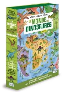 Alberto Borgo - Voyage, découvre, explore - Le monde des dinosaures - Livre et puzzle ovale de 200 pièces avec 12 silhouettes à emboîter sur le puzzle !.