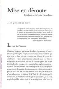 Aldo Guillaume Turin - Mise en déroute - Djos Janssens ou le rire encombrant.