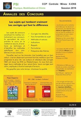 Physique, modélisation, chimie PSI  Edition 2018
