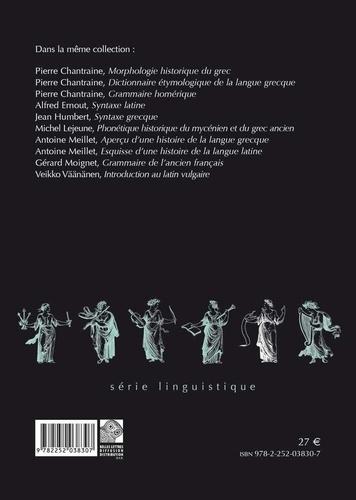 Morphologie historique du latin 4e édition