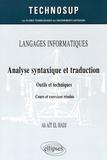 Ali Aït El Hadj - Analyse syntaxique et traduction - Outils et techniques.