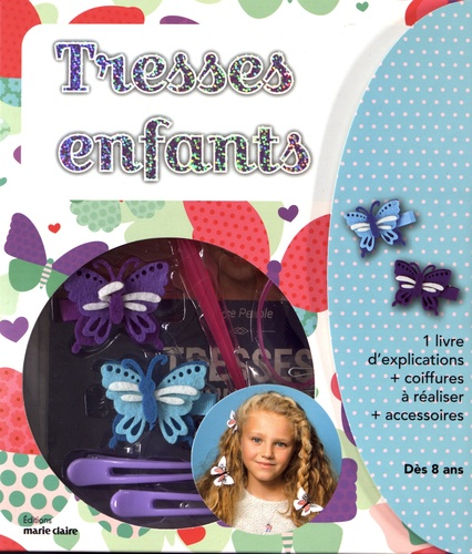 Alice Peuple - Coffret tresses enfants - Contient : 1 livre d'explications, 2 hair stick, 6 élastiques colorés, 6 épingles plates, 2 pinces crocodiles, 2 barettes papillons.