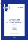 Alice Toma - L'architecture relationnelle du texte scientifique - Généralisation, particularisation, exemplification, exception, reformulation.