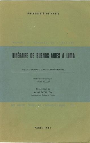 Itinéraire de Buenos-Aires à Lima