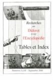 Irène Passeron et François Prin - Recherches sur Diderot et sur l'Encyclopédie  : Tables et index - Du numéro 1 au numéro 41.