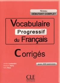 Galabria.be Vocabulaire progressif du français Niveau débutant complet - Corrigés Image