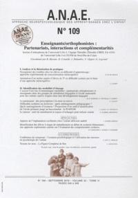 Jacques Grégoire - ANAE N° 109, setembre 201 : Enseignants/orthophonistes: Partenariats, intéractions et complémentarités.