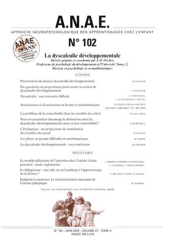 J-P Fischer - ANAE N° 102, Juin 2009 : La dyscalculie développementale.