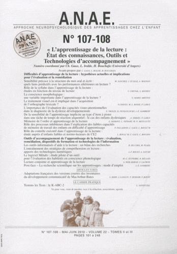 Christine Gaux - ANAE N° 107-108, Mai-juin : L'apprentissage de la lecture : état des connaissances, outils et technologies d'accompagnement.
