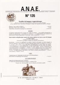 Jacques Grégoire et Trecy Martinez-Perez - ANAE N° 135, Septembre 20 : Troubles du langage et apprentissages.