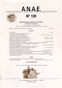 Edouard Gentaz - ANAE N° 139, décembre 201 : Apprentissages, cognition et émotion : de la théorie à la pratique.