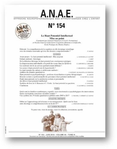 Nicolas Gauvrit et Léonard Vannetzel - ANAE N° 154, juin 2018 : Le haut potentiel intellectuel - Mise au point.