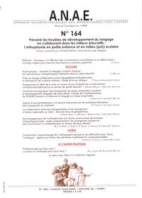 Christelle Maillart - ANAE N° 164, février-mars : Prévenir les troubles de développement du langage en collaborant dans les milieux éducatifs : l'orthophonie en petite enfance et en milieu (pré)-scolaire.