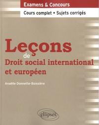 Anaëlle Donnette-Boissière - Leçons de droit social international et européen.