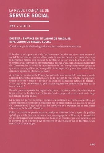 La revue française de service social N° 271/2018-4 Enfance en situation de fragilité, implication du travail social