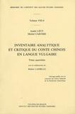 André Lévy et Michel Cartier - Inventaire analytique et critique du conte chinois en langue vulgaire - Tome 4.