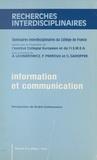 André Lichnerowicz et François Perroux - Information et communication : séminaires interdisciplinaires du Collège de France.