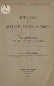 André Mirambel - Étude de quelques textes maniotes - Thèse complémentaire de Doctorat ès lettres présentée à la Faculté des lettres de l'Université de Paris.