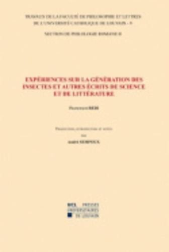 Francesco Redi - Expériences sur la génération des insectes et autres écrits de science et de littérature - Traduction, introduction et notes. Section de philologie romane-5/II