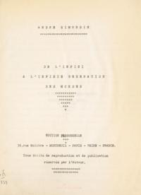 André Simondin - De l'infini à l'infinie génération des mondes.