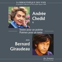 Andrée Chedid et Bernard Giraudeau - Textes pour un poème, Poèmes pour un texte.