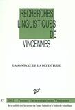 Anne Daladier et  Collectif - La syntaxe de la définitude.