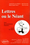Anne Fontaine et Guy Fontaine - Lettres ou le Néant - Avoir des connaissances littéraires... Savoir les utiliser.