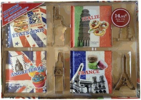 Coffret Cuisine Du Monde 4 Livres Et 4 Emporte Piece Etats Unis Italie Angleterre France