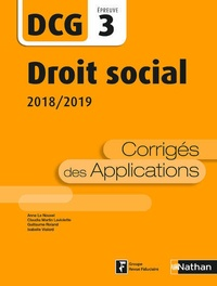 Droit social DCG 3- Corrigés des applications - Anne Le Nouvel |