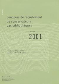 Galabria.be Concours de recrutement de conservateurs des bibliothèques. Annales session 2001 Image