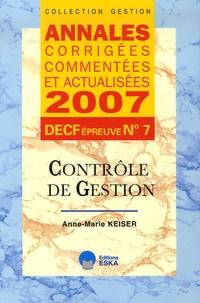 Contrôle de gestion DECF épreuve n° 7 - Annales corrigées, commentées et actualisées.pdf