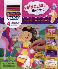 Anne Paradis - Super kit de pochoirs Princesse et licorne - Drawmaster. Avec 1 histoire de Princesse Camille, 7 pochoirs, 1 cadre de coloriage, 12 pages à colorier, 5 crayons de couleur et 55 autocollants.